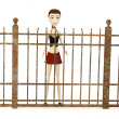 3d render of cartoon character with fence — 图库照片