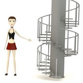 3d render of cartoon character on stairs — 图库照片