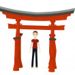 3d render of cartoon character with torii gate — Stock Photo #25633413