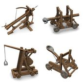 Collection of 3d renders - siege weapons — Stock Photo