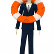 3d render of cartoon character with buoy — Stock fotografie