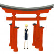 3d render of cartoon character with torii gate — Stock Photo