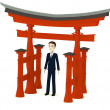 3d render of cartoon character with torii gate — Stock Photo #26009575