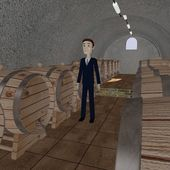3d render of cartooon character in wine cellar — Stock Photo