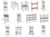 Collection of 3d renders - scaffolding — 图库照片