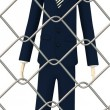 3d render of cartoon character behind fence — Stock Photo