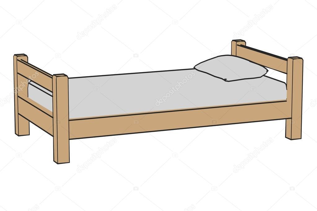Image de dessin animé de lit simple — Photographie 3drenderings © #36404543