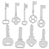 Cartoon image of door keys — Foto Stock