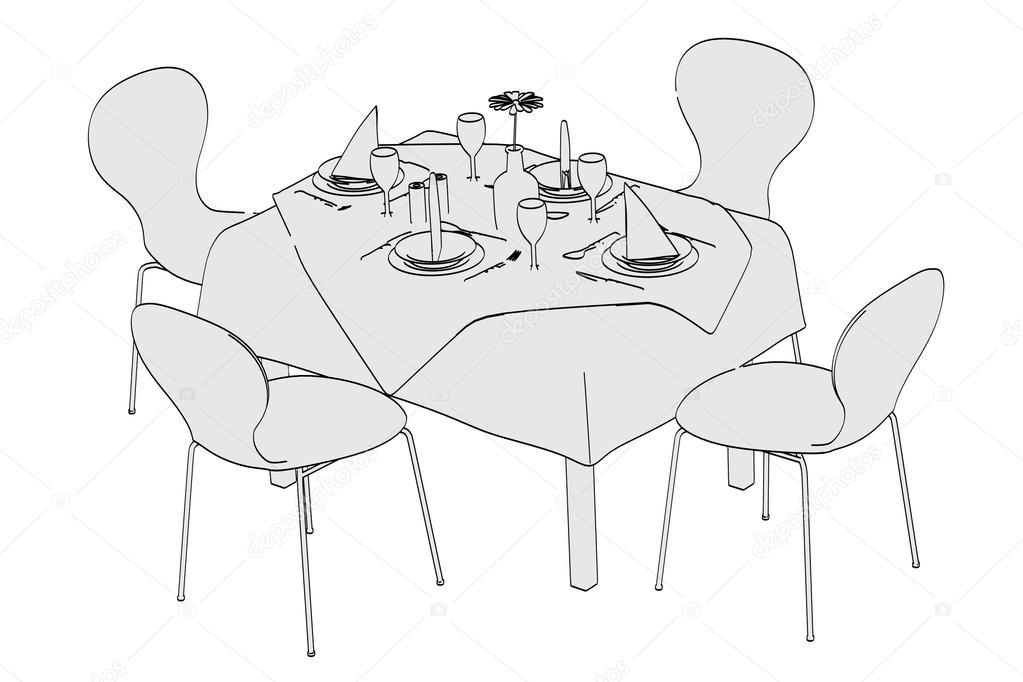 image de dessin anim de table restaurant photographie 3drenderings 36640367. Black Bedroom Furniture Sets. Home Design Ideas