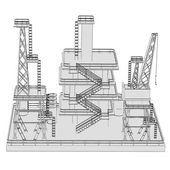 Cartoon image of oil rig — Stock Photo