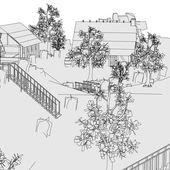 Cartoon image of medieval village — Stock Photo