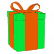 Cartoon image of gift (present) — Stock Photo