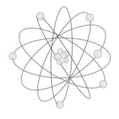 Cartoon image of atom with nucleus — Foto Stock