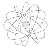 Cartoon image of atom with nucleus — Stok fotoğraf