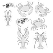 Cartoon image of crustacean animal set — Stock Photo