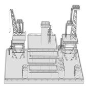 Cartoon image of oil rig — Stock Photo