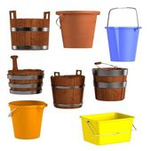Realistic 3d render of buckets — Stock Photo
