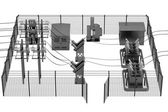 Realistic 3d render of substation — Stock Photo