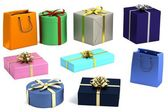 Realistic 3d render of gifts — Stock Photo