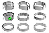 Realistic 3d render of rings — Stock Photo