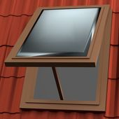 Realistic 3d render of roof window — 图库照片