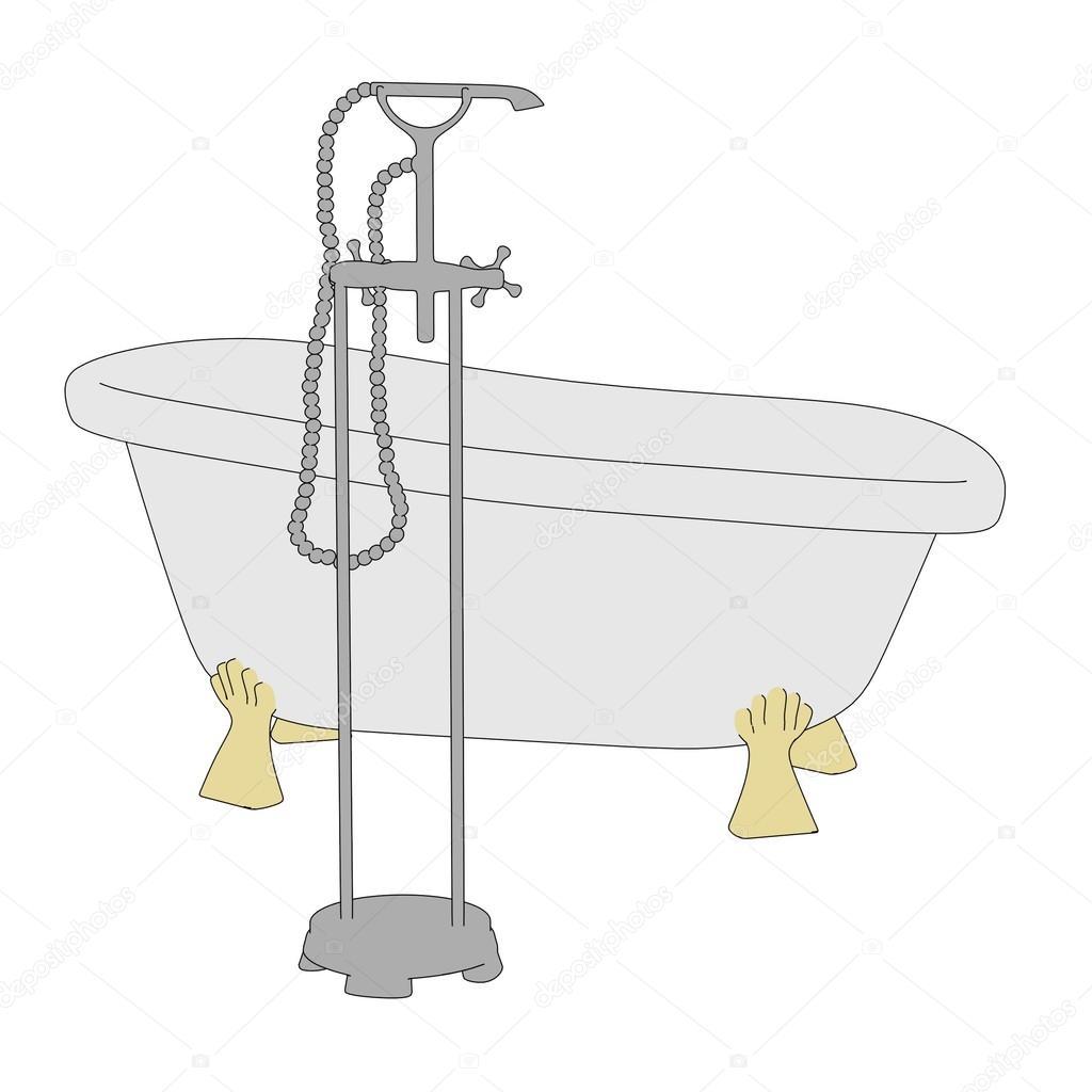 Image de dessin anim de la vieille baignoire photographie 3drenderings - Email de baignoire abime ...