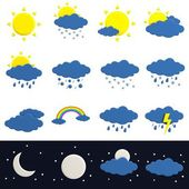 Realistic 3d render of weather icons — Stock Photo