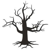 Cartoon image of dead tree — Stock Photo
