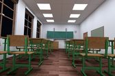 Realistic 3d render of classroom — Stock Photo