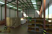 Realistic 3d render of warehouse — Foto de Stock
