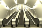 Realistic 3d render of escalator scene — Stockfoto