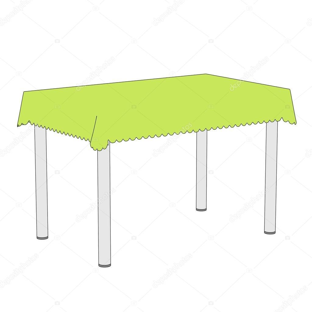 Ilustraci n de dibujos animados de mesa con mantel foto for Mesa de dibujo con luz