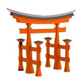 Realistic 3d render of torii gate — Stock Photo