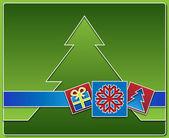 バック グラウンドでツリーとクリスマスのアイコン — ストック写真