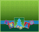 Christmas icons on a green background — Stockfoto