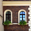 Facade of an old house with arc windows — Stock Photo
