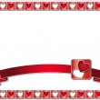Valentine frame with red hearts and ribbon — Stock Photo