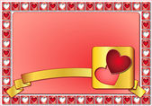 Valentine frame with hearts and golden ribbon — Stock Photo