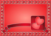 Valentine frame with hearts and ribbon — Stock Photo