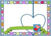 Hearts-valentine w pastelowe kolory kwadratów — Zdjęcie stockowe