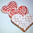Three gingerbread hearts — Stock Photo
