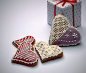Gingerbread hearts with the package — Stock Photo