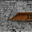 Old roof on a wooden cottage — Stock Photo #49752357