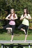 Young girls doing yoga — Stock Photo