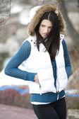 Fashionable teenage girl posing outdoors — Stock Photo