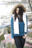 Fashionable teenage girl posing outdoors — 图库照片