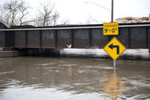 Flooded roadway in the Chicago area — Foto Stock