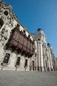 Catedral en la plaza mayor, lima, perú — Foto de Stock
