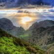 Sunset in North-West mountains of Tenerife, Canarian Islands - Stock Photo