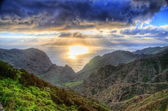 Sunset in North-West mountains of Tenerife, Canarian Islands — Stock Photo